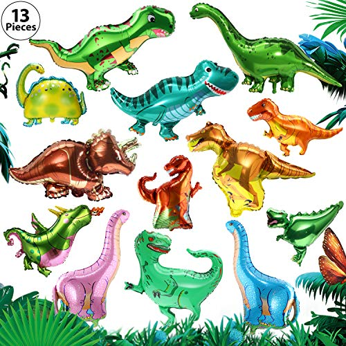 Dinosaur Foil Balloons 13 Pieces Dinosaur Aluminum Mylar Helium Balloons for Dinosaur Theme Jungle Party Birthday Baby Shower Decorations