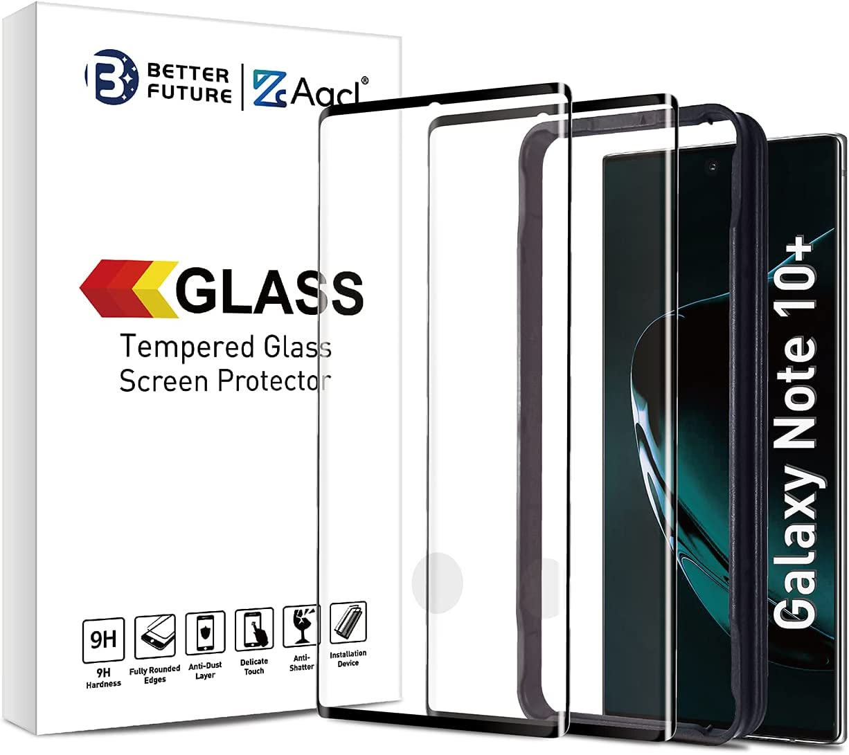 Screen Protector for Samsung Galaxy Note 10 Plus,6.8 Inch,Curved Tempered Glass,Compatible with Ultrasonic Fingerprint Scanner,2 Pack