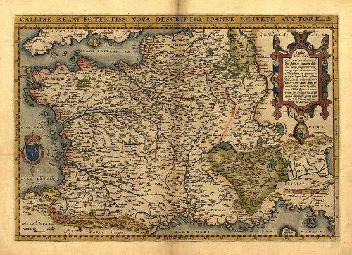 Reproducción de mapa antiguo Galo, Francia, sur de Inglaterra, Norte de España e Italia, Suiza, por Abraham Ortelius A1 78 x 57 cm de tamaño