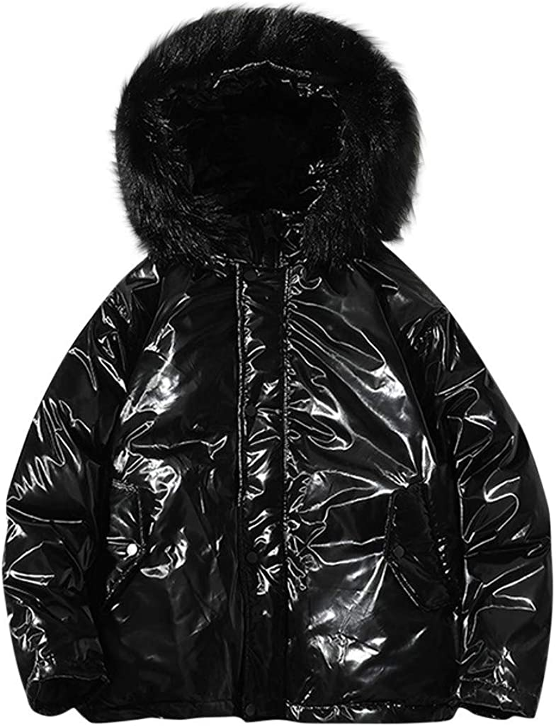 Stoota Men's Midweight Packable Puffer Down Jacket with Fur Hooded, Winter Water-Resistant Regular Fit Solid Color Short