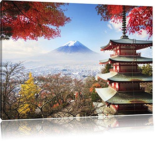 Pixxprint Japanischer Tempel im Herbst, Format: 120x80 auf Leinwand