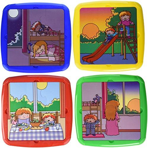 Miniland Set van 4 kunststof puzzels – dag en nacht