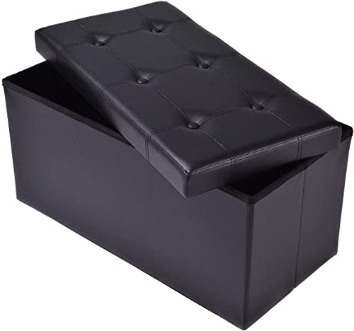 """lowest Giantex 30"""" L Folding Storage Ottoman Bench, Foldable Faux Leather Pouffe Box Stool Coffee Table wholesale Footrest for Hallway,Living popular Room, Bedroom (Black) outlet online sale"""