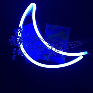 Decorative LED Crescent Moon Neon Light Signs Blue Neon Wall Light up Sign Art Decor LED Sign for Christmas Bedroom Home Kids Bedroom Birthday Party (Blue Moon)