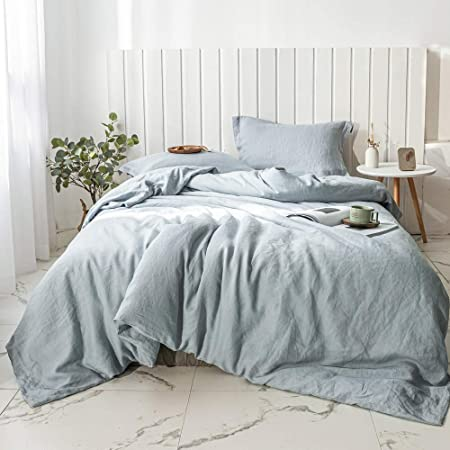 Simple&Opulence 100% Linen Duvet Cover Set 3pcs Basic Style Natural French Washed Flax Solid Color Soft Breathable Farmhouse Bedding with Button Closure (Queen, Dusty Blue)
