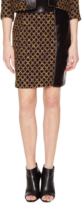 Hunter Bell Womens Missy Leather Trim Twill Skirt golden Boucle