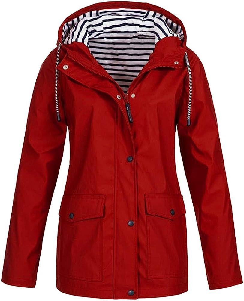 Amiley Women's Waterproof Raincoat Active Outdoor Striped Hooded Lightweight Rain Jacket Windbreaker with Pockets