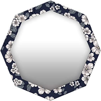 999Store Printed White Flowers and Leaves Octagon Mirror (MDF_17X17 Inch_Multi)