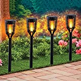 12PK Mini Solar Tiki Torches With Dancing Flickering Flame, Outdoor Solar Lights Landscape Decoration Lighting Dusk to Dawn Auto On/Off Weathproof for Garden, Yard, Backyard, Garden, Pathway, Driveway