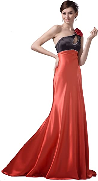 Felala Lang One Shoulder Rot Formell Abendkleid Ballkleid 44 Amazon De Bekleidung