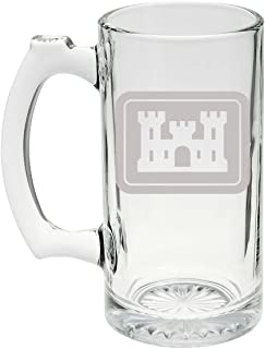 US Army - United States Army Corps of Engineers Logo Etched Stein Glass 25oz, Mug