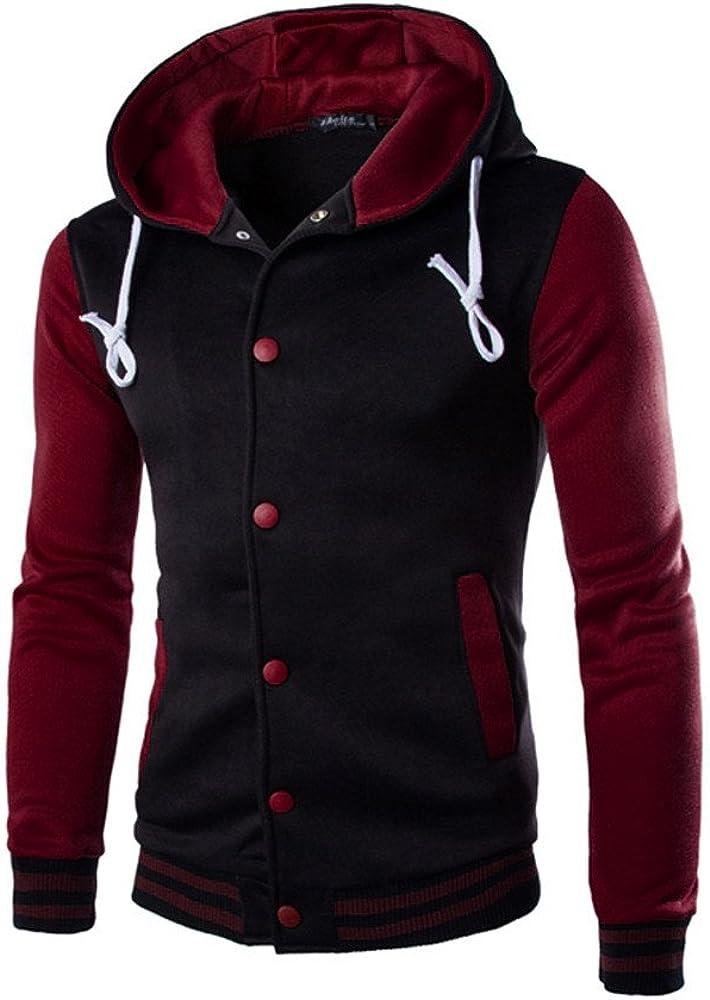 Asibeiul Men's Hoodie Coat Jacket Sweater Hooded Winter Sweatshirt Pullover Patchwork Outwear Warm Slim Fashion Casual Cotton