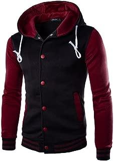 Zackate Mens Hooded Baseball Jacket Varsity Cotton Hoodies Letterman Jackets Sweatshirts
