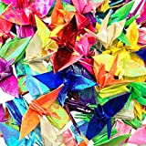 Cieovo 100 PCS New Origami Paper Cranes Garland Glitter Mixed Colors Folded DIY Japanese Crane Mobile String Garland for Wedding Party Backdrop Home Decoration