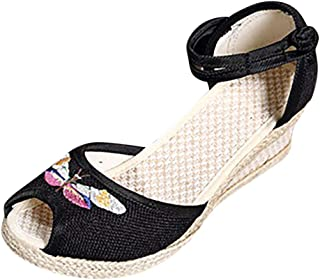 Watere◕‿◕ Women Retro Linen Round Toe Sandals Wedge Shoes Solid Color Wedge Embroidered Flower Retro Wind Hemp Buckle Black