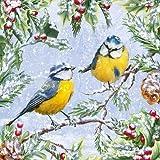 20 Servietten Blaumeisenpaar im Winter als Tischdeko für Tierliebhaber 33x33cm