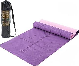 Lixada Esterilla de Yoga TPE Insípido con Línea de Posición Colchoneta de Yoga Alfombrilla de Yog
