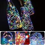 12 Stück LED Flaschenlicht, BIG HOUSE 20 LEDs 2M Lichterkette Kupferdraht batteriebetriebene Weinflasche Lichter mit Kork Schnurlicht für DIY Deko Weihnachten Party Urlaub Stimmungslichter(Mehrfarbig) - 3