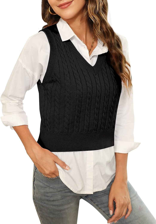 HOCOSIT Women's Knited V-Neck Vest Argyle Plaid Preppy Style Sleeveless Pullover Crop Sweater Vest