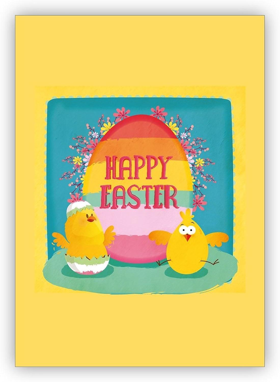 Im 16er Glückwunsch Set  Sonnige Osterkarte mit lustigen Oster Küken  Happy Easter B07MPTBCTY | Bevorzugtes Material