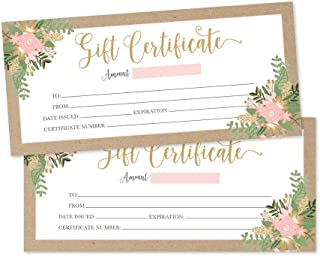 25 4x9 Rustic Floral Gift Certificate Cards Vouchers For Holiday, Christmas, Birthday Holder, Small Business, Restaurant, Spa Beauty Makeup Hair Salon, Wedding Bridal, Baby Shower Cash Money Printable