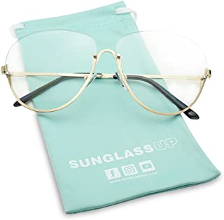 SunglassUP Large Rimless Gold Trim Half Frame Aviator Clear Lens Fashion Sun Glasses