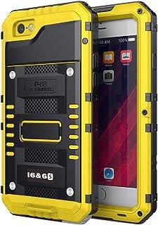Beeasy Funda para iPhone 6 / 6S,Impermeable Antigolpes con Protector Pantalla,360°Protección Rígida Robusta Carcasa para Aifon 6S Resistente Impacto Militar Duradera Blindada Fuerte Seguridad,Amarillo