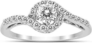 1/2 Carat TW Diamond Halo Twist Engagement Ring in 14K White Gold