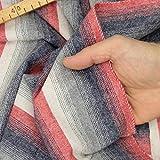 kawenSTOFFE Wollstoff Flanellstoff gestreift Rot Blau Grau