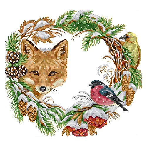 Fltaheroo Cross Stitch Kits Stamped of Embroidery Starter Kits for Beginners DIY 11CT 3 Strands - the Fox and the Garland 47x44cm