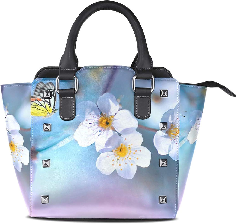 My Little Nest Women's Top Handle Satchel Handbag Beautiful Butterfly in Branch Ladies PU Leather Shoulder Bag Crossbody Bag