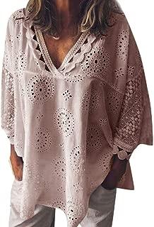 Womens Summer Fashion 2019 ! Women Half Sleeve Cotton Linen Hollow Out Lace Patchwork T-Shirt Blouse Tops