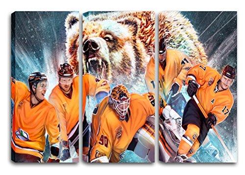 Wolfsburg Eishockey, Fan Artikel Leinwandbild 3Teiler Gesamtmaß 120x80cm, Auf Holzrahmen gespannt, Kein Poster oder billig Plakat, Must Have für echte Fans