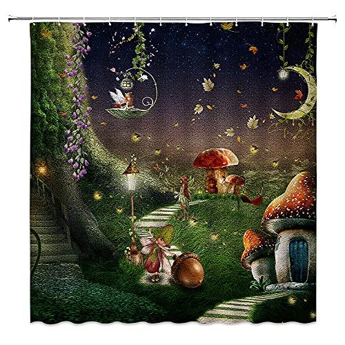 Märchenwald Duschvorhang Baum Rot Pilz Mond Gras Rebe Kleine Fee Gefallene Blätter Fantasie W&erland Frühling Geeignet für Badezimmer Polyester Stoff mit 12 Haken
