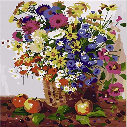 TGHYU Pintura Digital para Adultos Bricolaje Pintura Digital Adultos Niños Pintura por Número Kits Canasta De Flores 16 * 20 Pulgadas (Sin Marco)