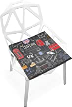 TSWEETHOME Comfort Memory Foam Square Chair Cushion Seat Cushion with UK London Elements Chair Pads for Floors Dining Office Chairs