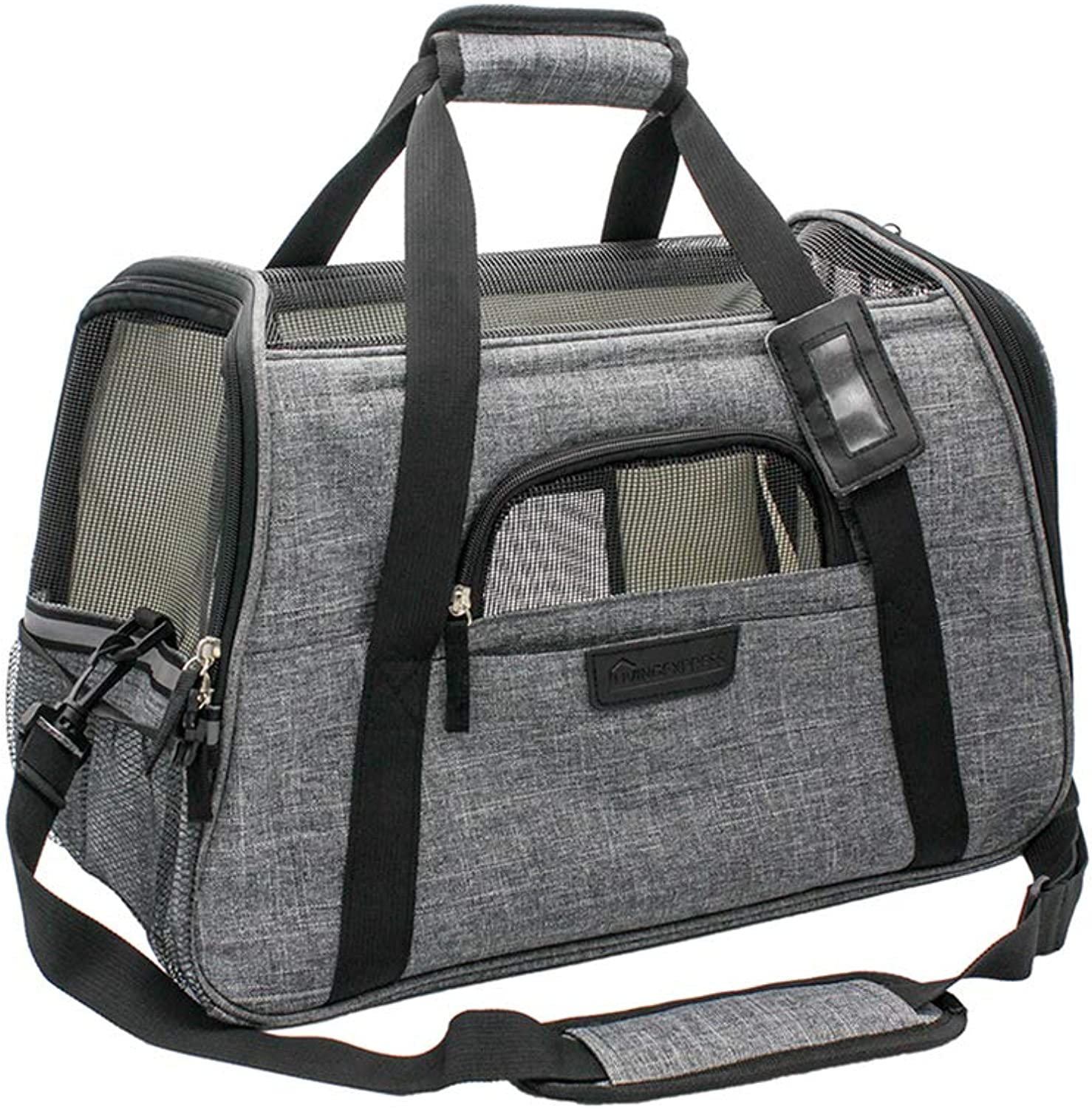 Living Express Airline Dog Carrier   Pet Carrier Airline Approved Travel Foldable,Soft Sided Carrier with Fleece Puppy Bedding,Dogs Purses(17.5 L x 10 W x 11 H,Grey)