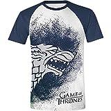 Juego de Tronos Painted Stark Raglan Camiseta blanco-azul S
