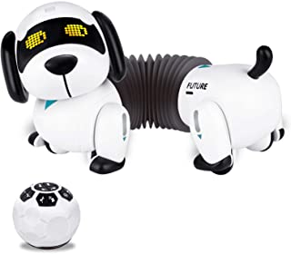 Fistone RC Robot Puppy Dog Toy, Remote Control Dachshund with Walking and Barking Interactive Smart Electronic Pets Toys f...