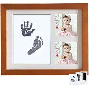 Baby Handprint and Footprint Photo Frame Kit for Newborn Boys and Girls Prints Paper and Clean Touch Ink Pad to Create Baby Hand and Foot Prints