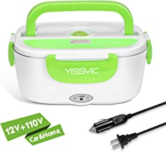 YISSVIC Electric Lunch Box Food Heater Portable Food Warmer 110V Home and 12V Car Use with Removable Stainless Steel Container Food Grade Material
