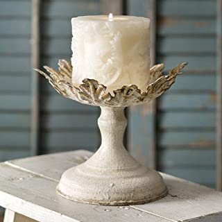 Antique White with Gold Finish Leaf Pillar Metal Candle Holder, Elegant Decor Accents for Wedding Centerpieces Candlestick Holders Stand Centerpiece Decoration Ideal for Weddings and Special Events