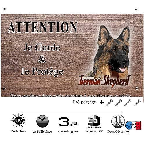 Pets-Easy.com Panneau Attention au Chien personnalisée German Shepherd - pré perforée et vis comprises. De 30 cm à 15 cm…