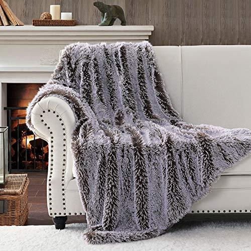 Horomote Home - Coperta in finta pelliccia, elegante, con pelo lungo, lavabile, per divano e letto, 152 x 203 cm