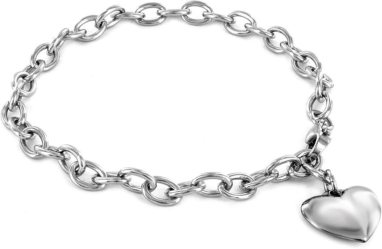 ELYA Max 67% OFF Women's Stainless Steel Fashion Polished Heart Charm - 7 Bracelet
