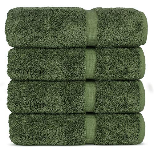 Luxury Hotel & Spa 100% Cotton Premium Turkish Bath Towels, 27' x 54'' (Set of 4, Moss)