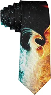 Men's Polyester Slim Neckties, formal Party Meeting Conference Suit Neckties - Ice And Fire Phoenix Bird Art
