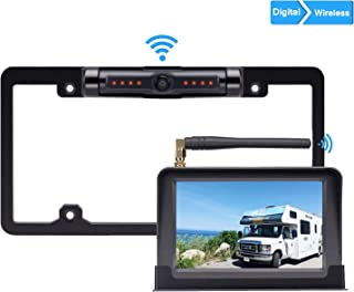 LeeKooLuu HD 720P Digital Wireless Backup Camera 5'' Display High-Speed Observation System for Cars,RVs,Pickups,Trucks,Campers IP69 Waterproof License Plate Camera Front/Rear View Night Vision Clear