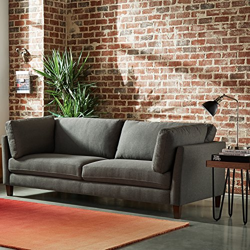 "Amazon Brand – Rivet Midtown Contemporary Upholstered Sofa Couch, 92.1""W, Charcoal"
