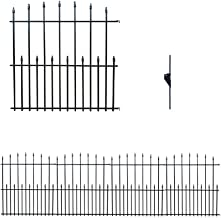 MTB Black Steel Decorative Garden Fence Panels, Metal Fence Animal Barrier 42.3 in H x 33 in W (Pack of 4, Overall 11-ft) ...